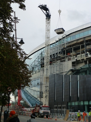 A short visit to the new stadium  to see the demolition of the fixed cranes.