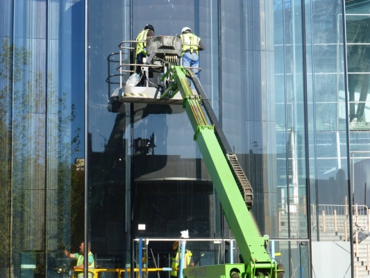 A cleaning operation of the glass surrounding the cylinder display 1/4